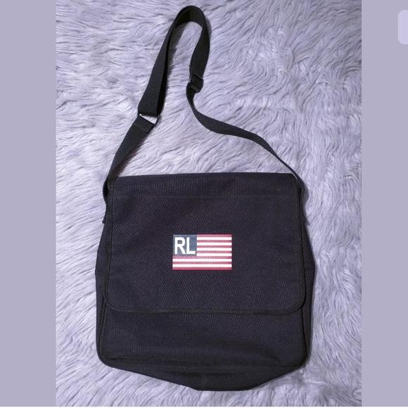 1b96edd0d18 Ralph Lauren Polo Flag Black Tote Messenger Bag. M 5b44eb4812cd4a3b0b108cb4